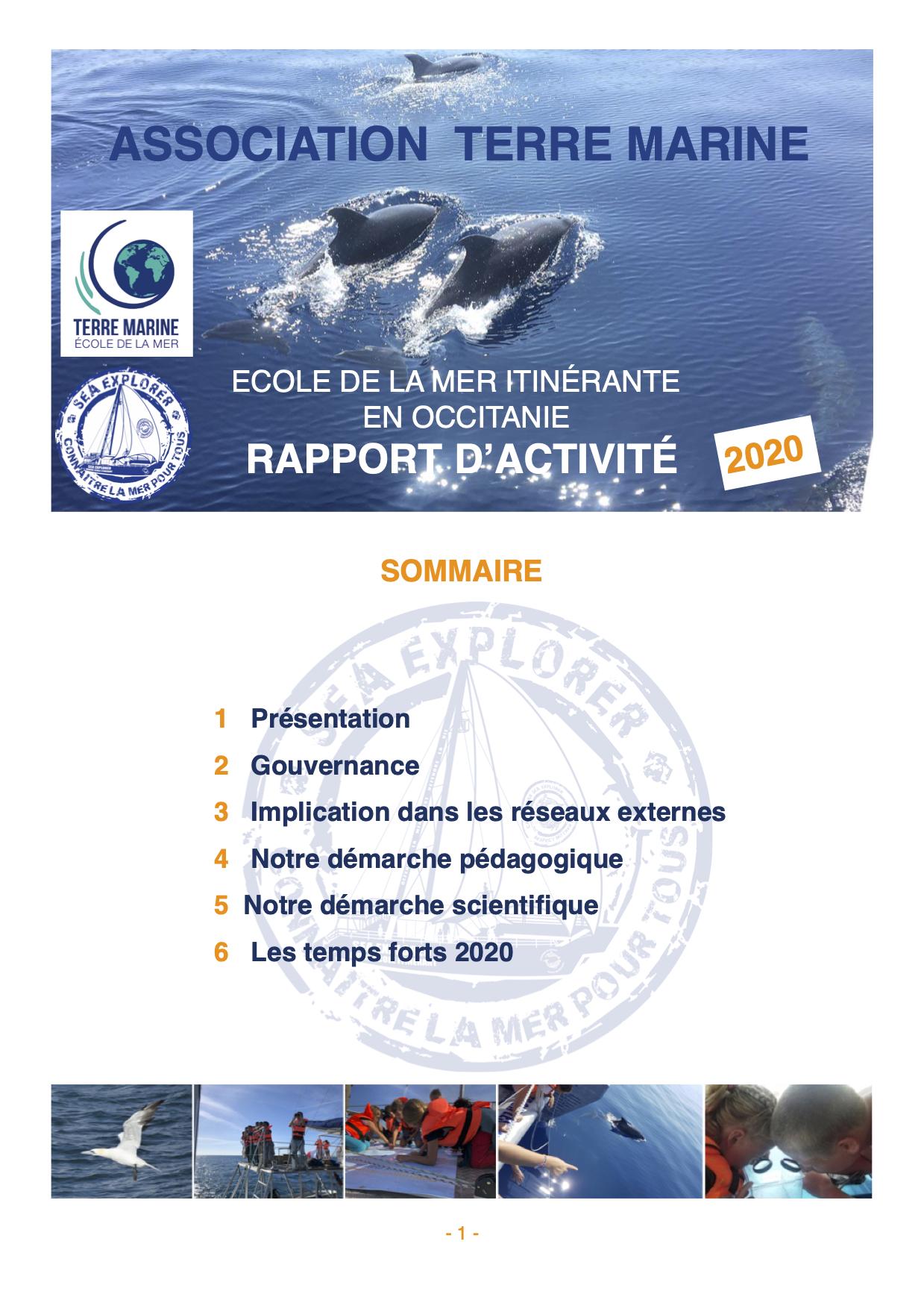 Rapport d'activité Terre Marine 2020