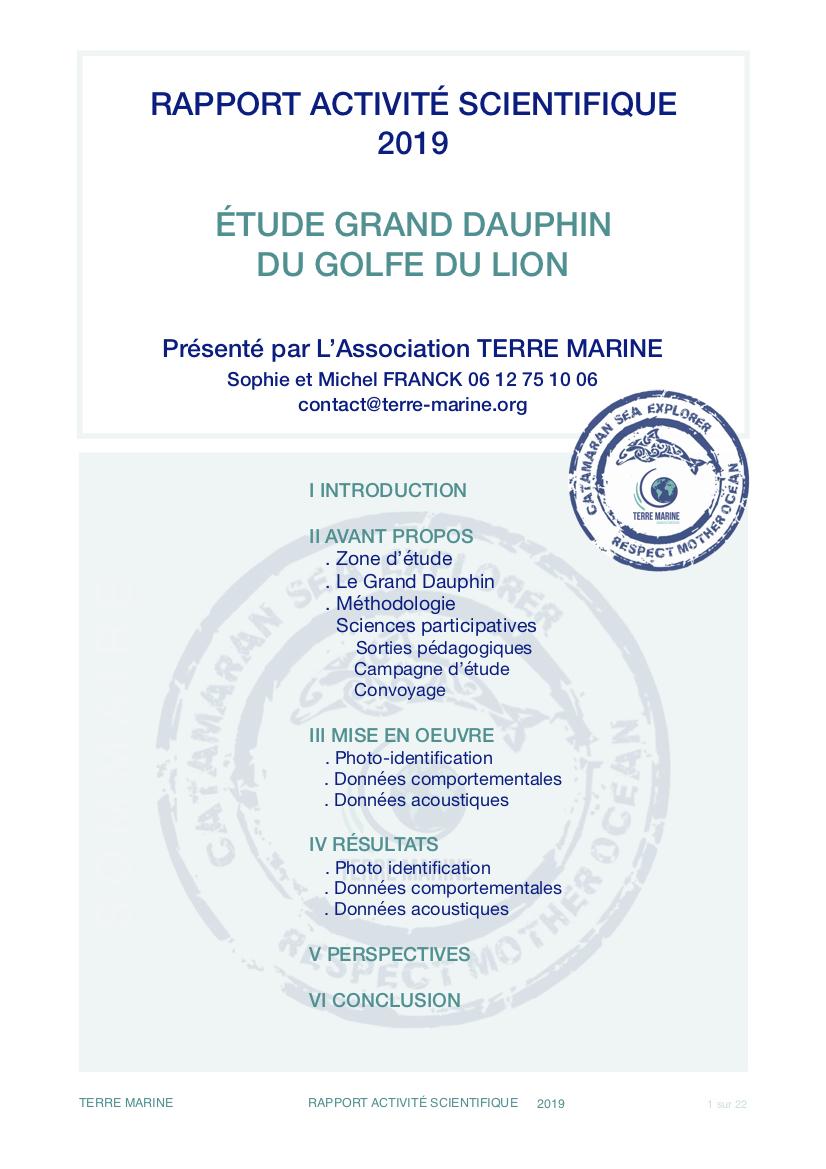 Rapport d'activité scientifique 2019 Terre Marine - Étude grand dauphin